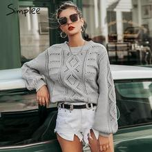 Simplee Pullover Sweater Lantern-Sleeve Ladies Jumper Knitted Women Hollow-Out Casual