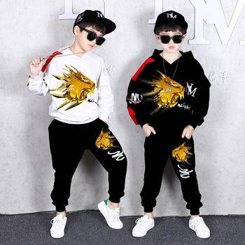 2 szt Dziecięce ubrania hip-hopowe chłopięce jesienne bluzy + szarawary bawełniane dresy 8 10 12 lat nastolatki dziecięce tanie i dobre opinie maidou story Aktywny Z kapturem Swetry 20237 COTTON Chłopcy Pełna Rękaw raglan Pasuje prawda na wymiar weź swój normalny rozmiar