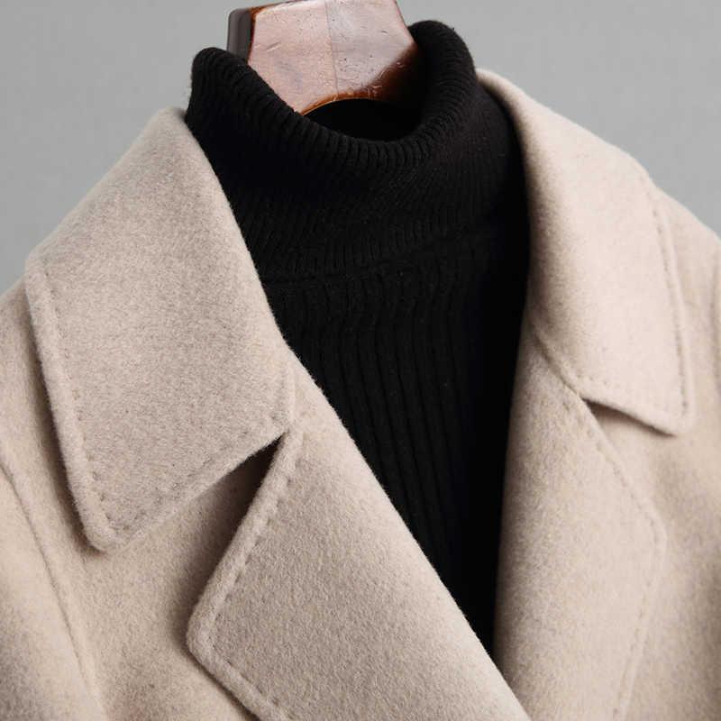 2019 Frauen Kaschmir Langen Mantel Elegante Drehen Unten Kragen Woolen Mantel Mit Gürtel Öffnen Stich Design Winter Warme Mantel Casaco feminino