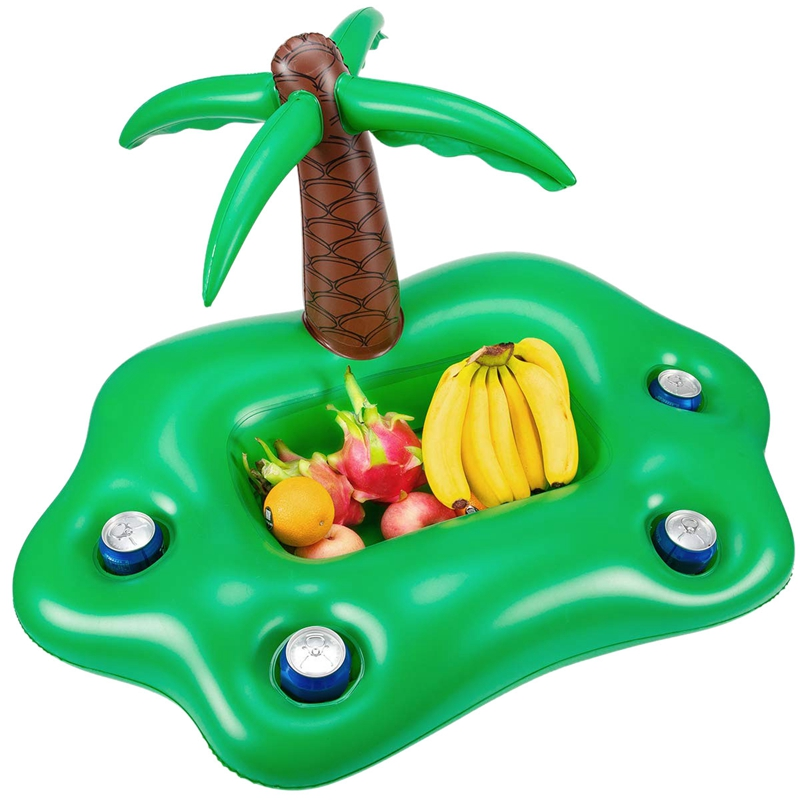 Summer Pool Inflatable Cup Holder Water Party Ice Bar Swimming Pool Float Beer Beverage Cooler Pvc Inflatable Floating Bar Tra