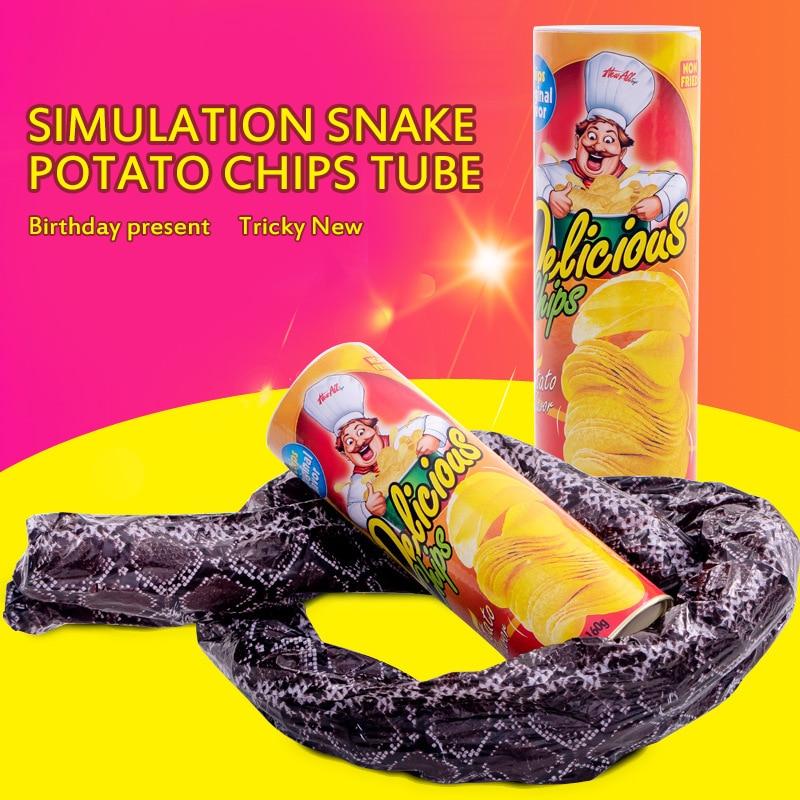 Spoof Potato Chip Snake Bouncing Snake Whole Person Startled Tricky Potato Chip Bucket Snake Novelty Gap Toy Practical Jokes