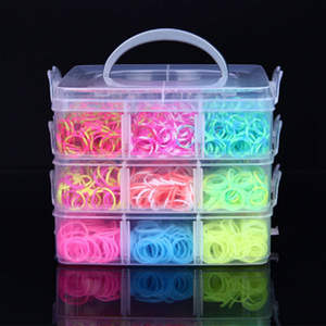 Rubber Loom Bracelet Bands-Set Elastic-Bands Rainbow-Weave Silicone Toy-Tool-Accessories
