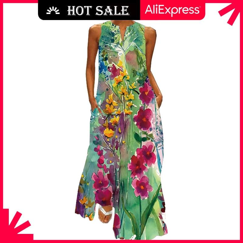 MOVOKAKA 2021 Floral Print Green Dress Women Long Casual Plus Size Dresses Summer Woman Sleeveless Girls Beach Maxi Dress Women