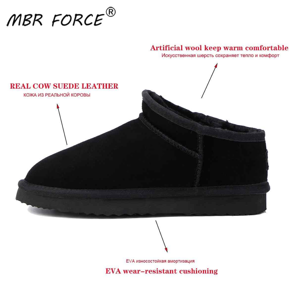 MBR BUỘC Phụ Nữ Úc Phong Cách Cổ Điển Ủng Mùa Đông Ấm Da Đế Bằng Warterproof Cao chất lượng Mắt Cá Chân Giày kích thước lớn