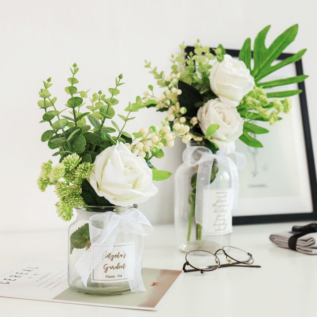 Modern Creative Glass Vase Ornaments Home Furnishing Crafts Office Table Bouquets Flower Pot Wedding Decoration 3