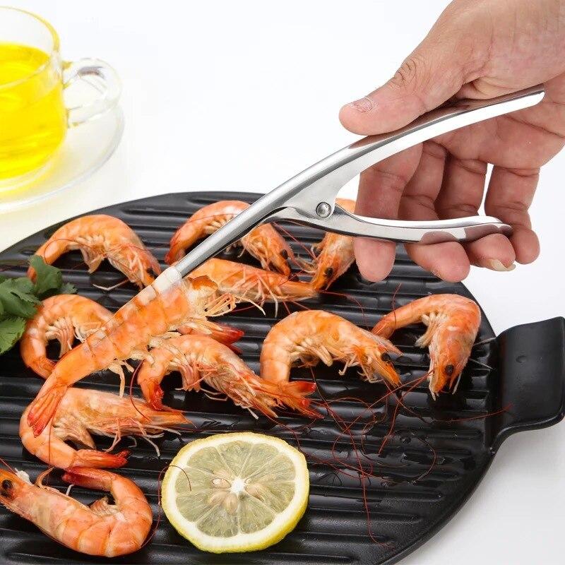 Acier Inoxydable crevette éplucheur crevette Peel Dispositif Creative cuisine fruits de mer outils G