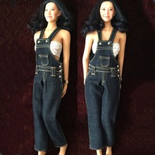 1/6 Scale 12 Inches Female Bodies Figures Belt Bib Pants Denim Jeans Accessories