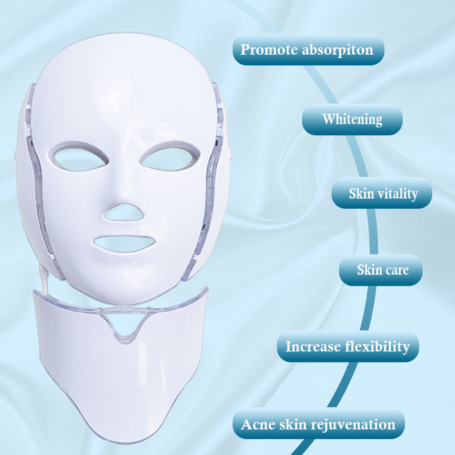 LiCheng LED Facial Mask Beauty Skin Rejuvenation Photon Light 7 Colors Mask with Neck Therapy Wrinkle Acne Tighten Skin Tool 3