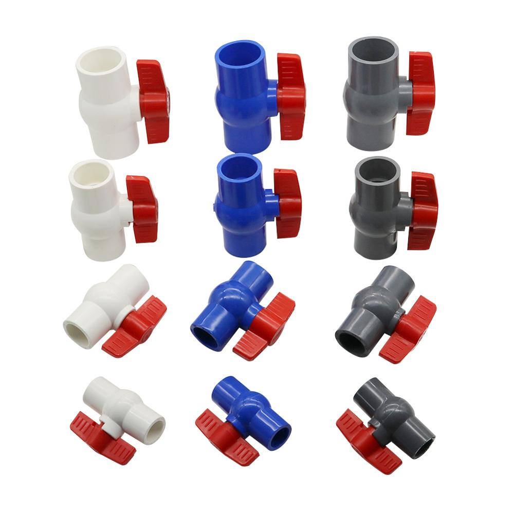 Inner Diameter 20/25/32/40mm PVC Ball Valve 3 Color Optional Slip Plumbing U-PVC Ball Valve Plastic Repair Connector Pipe Switch