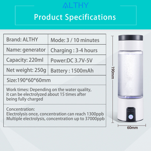 Image 5 - ALTHY H2 mini Wasserstoff Wasser Generator Flasche Reiche SPE PEM Maker lonizer Elektrolyse Tasse Tragbare USB Aufladbare Anti Aging