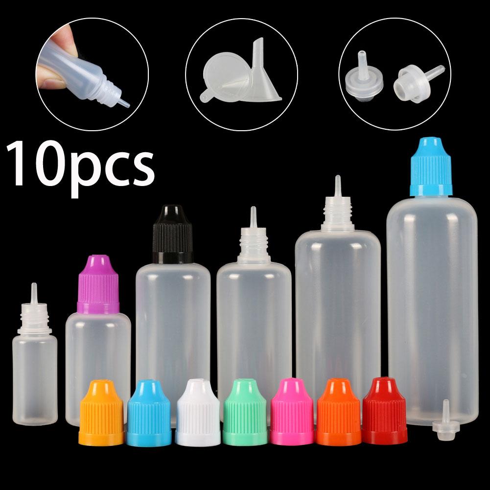 10pcs X 3ml-120ml Dropper Bottles Plasitc LDPE Empty Squeezable Eye E Liquid Juice Container CRC Cap Long Dropper Tip + Funnels