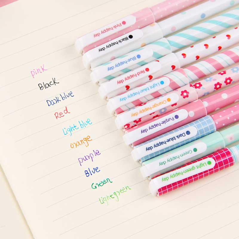 10 Pcs/Color Gel Pen Unicorn Flamingo Animal Starry Sky Flower Kawaii Pens Cute Korean Stationery Painting School Supplies