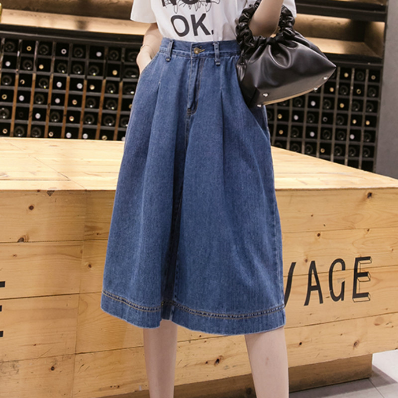 Plus Size Flared Wide Leg Below Knee Half Length Cropped Jeans Denim Shorts For Women S M L XL 2XL 3XL 4XL 5XL