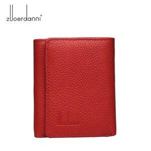 Image 1 - Di modo delle donne del cuoio genuino piccolo femminile portafoglio Tri fold borsa breve per sacchi di denaro con il supporto di carta della signora mini slim portafogli
