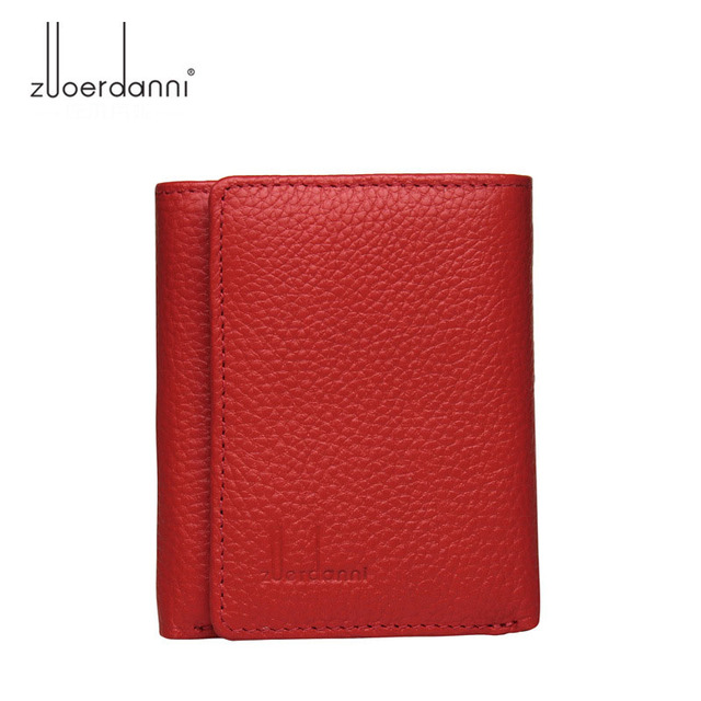 Di modo delle donne del cuoio genuino piccolo femminile portafoglio Tri fold borsa breve per sacchi di denaro con il supporto di carta della signora mini slim portafogli