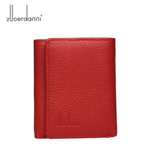 Moda hakiki deri kadın küçük cüzdan kadın üç kat kısa çanta para çanta kart tutucu bayan mini ince cüzdan