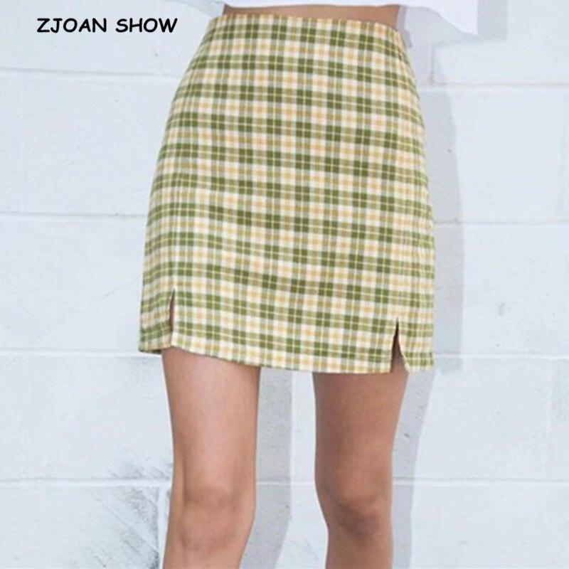 2020 Summer Front Double Split Package Hips Gingham Plaid Mini Skirt Retro Women High Waist Short A Line Skirts Slit Femme