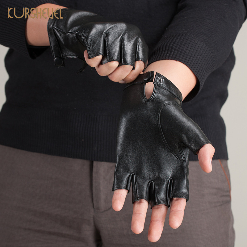 High Quality Genuine Leather Gloves Men Women Fingerless Leather Driving Gloves Black Male Sheepskin Mittens AGB158