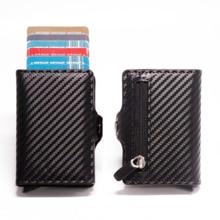 Card Wallet RFID Credit-Card-Holder Metal-Case Carbon-Fiber Slim Mini Blocking Aluminum