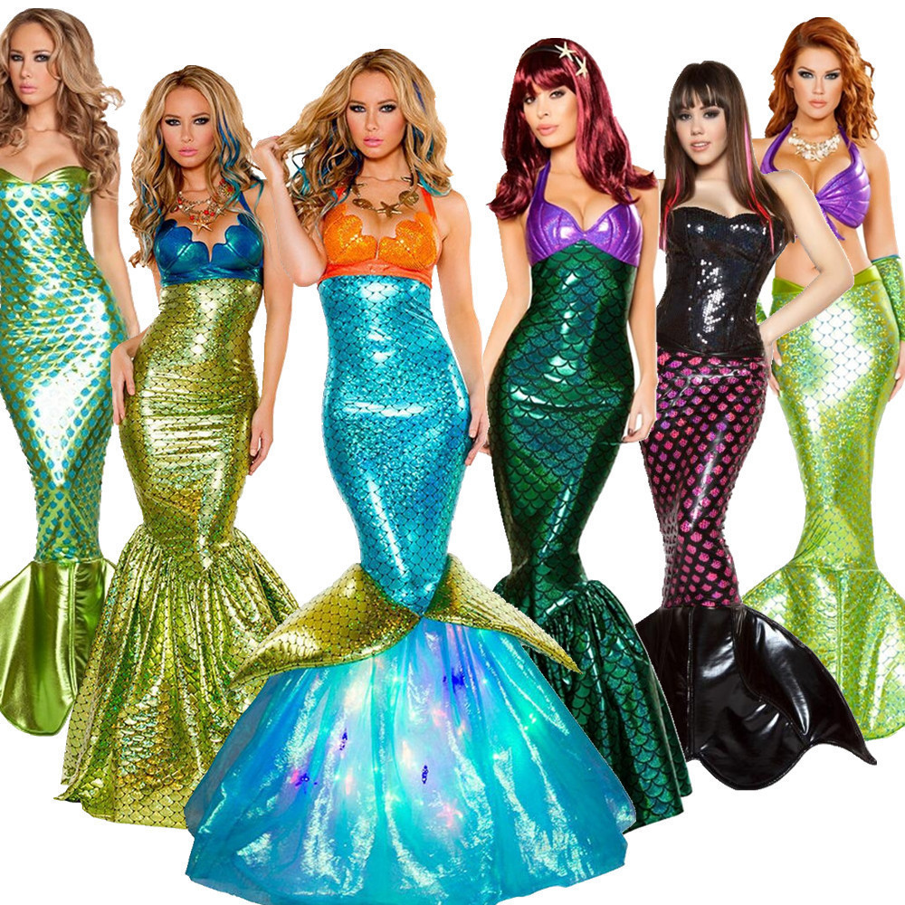 Mermaid Princess Carnival Halloween Costumes For Women Sequins Fancy Clothing Sexy Ariel Party Deluxe Vestidos Dress Tail Skirt