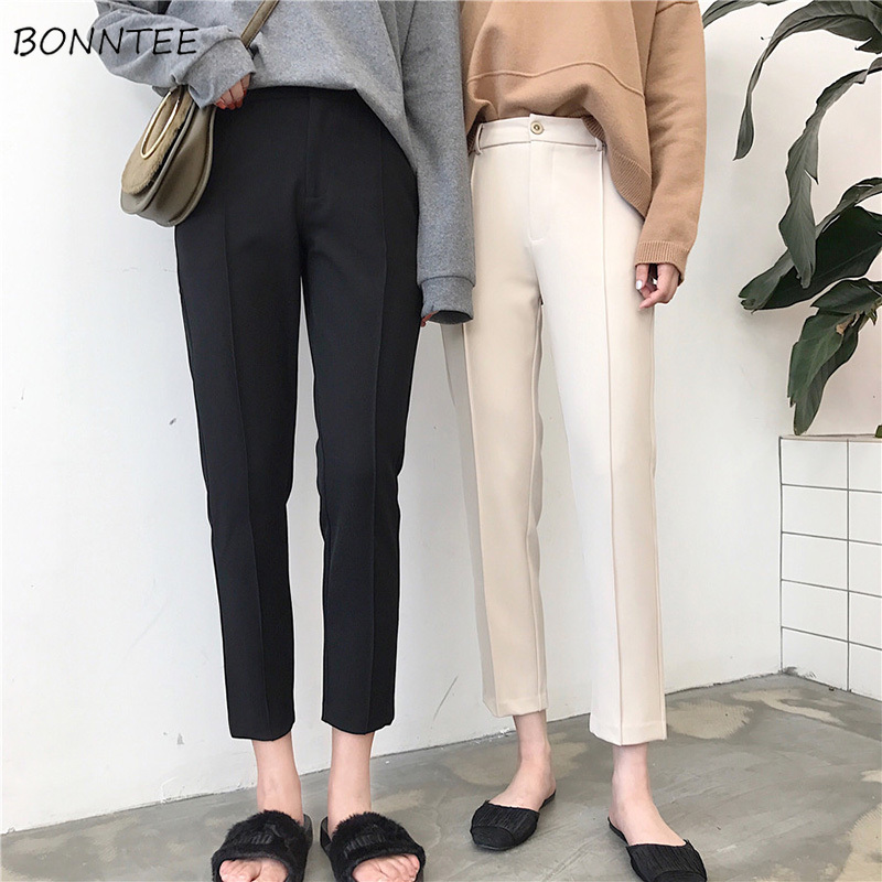 Pants Women Single Button Zipper Pockets Solid Color Ankle-Length Womens Simple All-match Elegant Korean Style Leisure Trendy