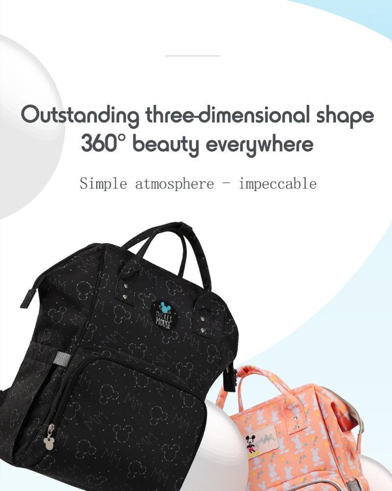 H95de90605c474c6999b5e1de7728914cl Disney Diaper Bag Backpack For Moms Baby Bag Maternity For Baby Care Nappy Bag Travel Stroller USB Heating Send Free 1Piar Hooks