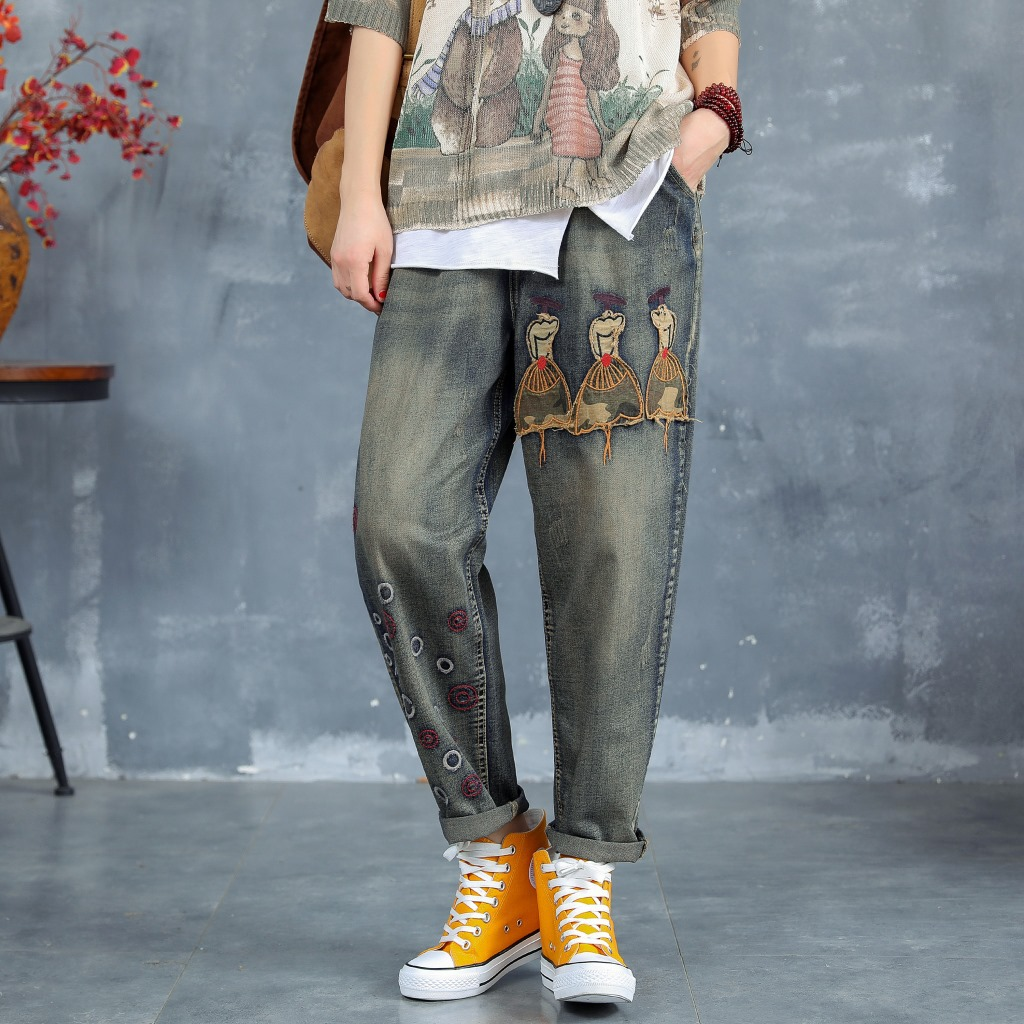 2019 nouveau Style littérature et Art rétro brodé Revers effiloché taille haute pantalon de jeans décontractés ample sarouel femmes