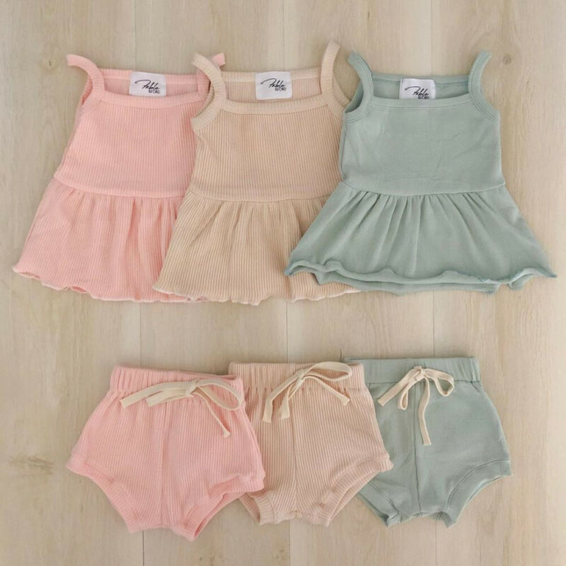 2PCS Summer Toddler Infant Baby Girls Clothes Set Cotton Solid Casual Sleeveless Tops Mini Dress+Shorts Kid Outfits High Quality