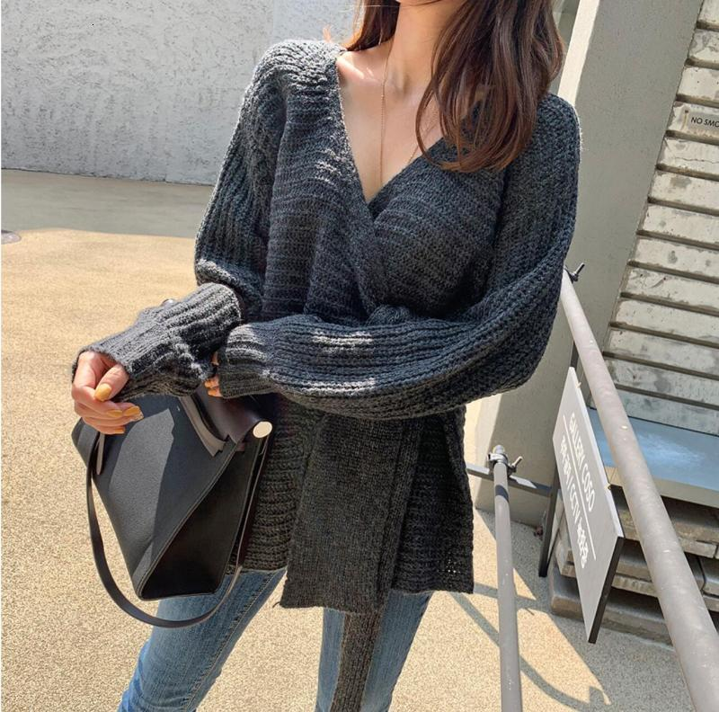 SuperAen Fashion Sweater Coat Female Korean Style New 19 Autumn and Winter Wild Ladies Sweaters Solid Color Women Knit Tops 5