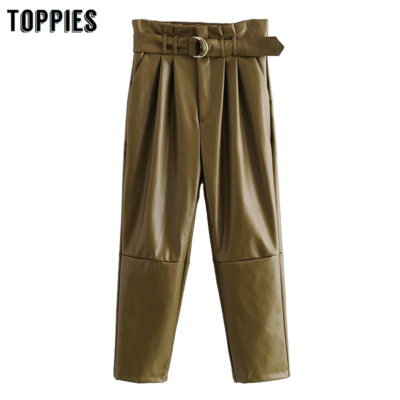 Autumn Winter Army Green Leather Pants High Waist Paperbage Pants Women Sweatpants Fashion Streetwear