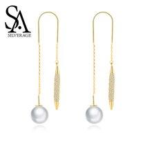 SA SILVERAGE Pearl S925 Sterling Silver Earrings Feminine Tassel Long Drop Women Jewelry Gold Plated Eardrop