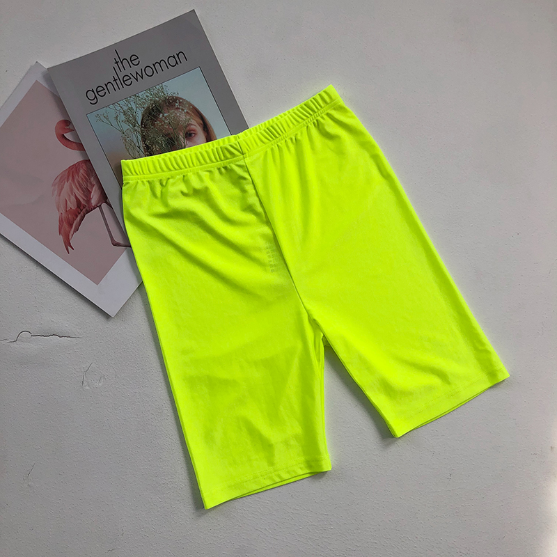 Neon green yellow biker shorts orange black high waisted shorts casual elastic shorts vintage khaki pink reflective short mujer 4