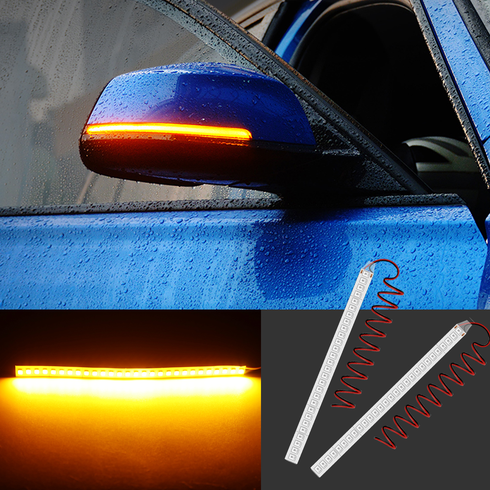 2pcs Car Rearview Mirror Turn Signal Strip Light Indicator Lamp Streamer Light 15CM 28SMD Led Car Light Source 12V DC