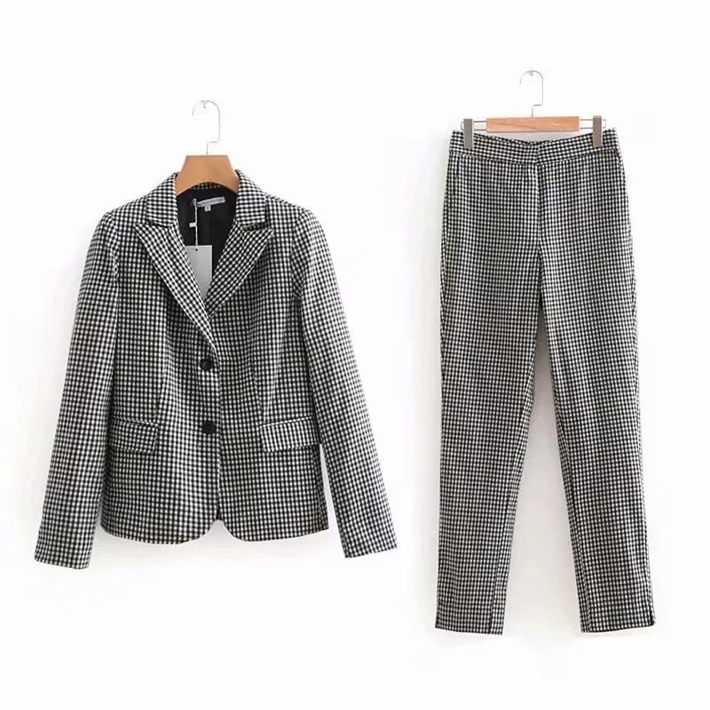 2019 autumn new casual single-breasted long-sleeved blazer Women suits pants suit Slim trousers Women's office suit