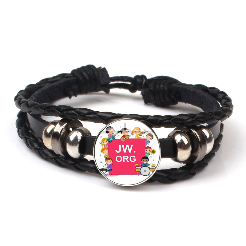 Fashion JW.ORG Jehovah Witness Multilayer Leather Bracelet Charm Logo Photo Glass Dome Button Vintage Jewelry Gift