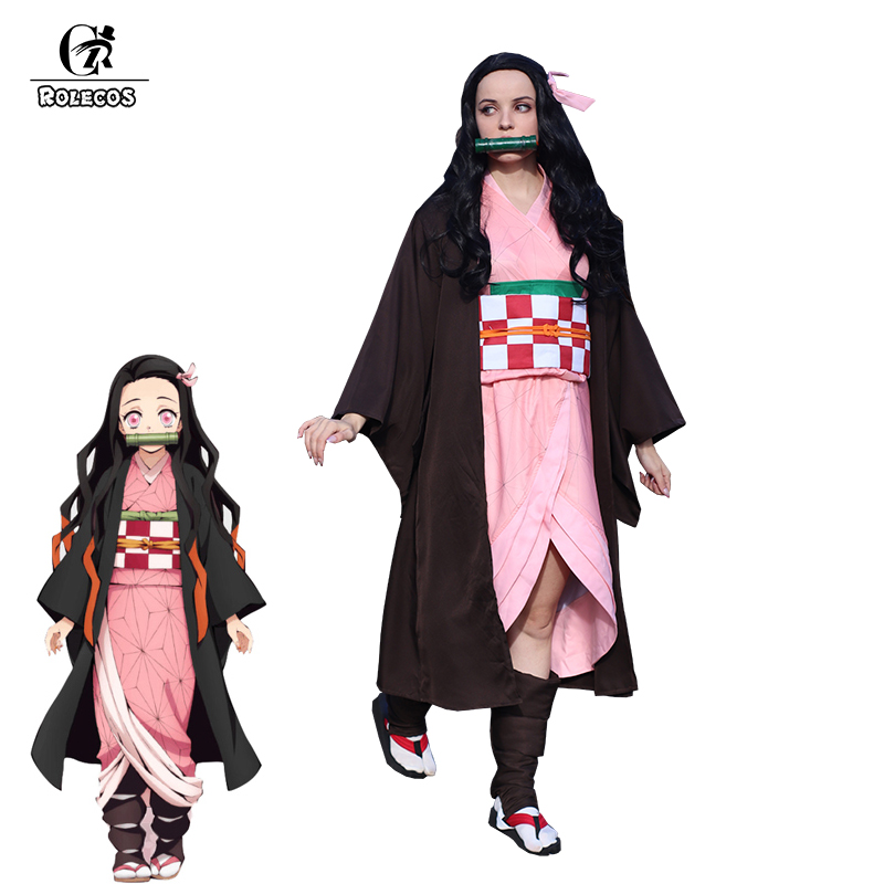 ROLECOS Anime Demon Slayer Kamado Nezuko Cosplay Costume Kimetsu No Yaiba Cosplay Costume Halloween Women Uniform Kimono