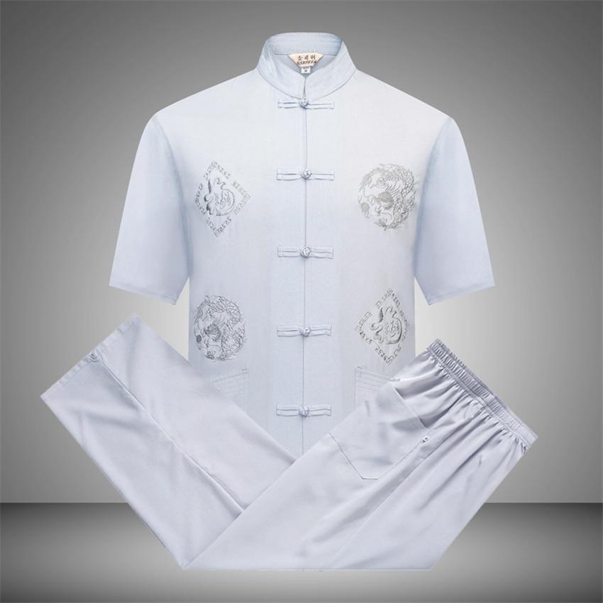 Man Chinese Traditional Clothing Set Casual Kung Fu Tai Chi Uniforms Shirt Pants Print Short Sleeve Oriental Tang Suit