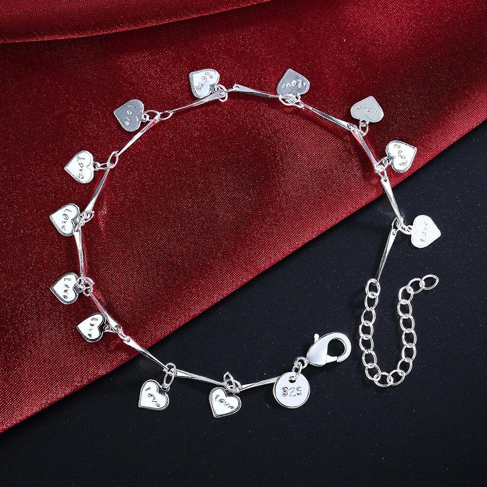 925 Sterling Silver Bracelets For Women Lucky Love Letter Heart Silver Chain Bracelet Pulseira Gift Wedding Jewelry S-B164