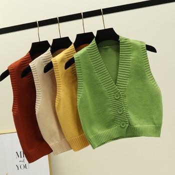 Women's Sleeveless Cardigan Vest Spring Autumn Loose Short V-neck Cardigan Vest Coat Female Korean Top womens Vests GD351