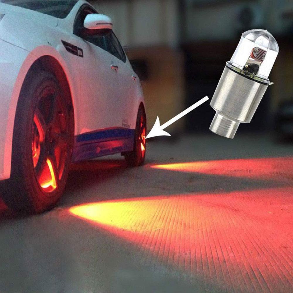4 шт. LED авто подсветка для колес автомобиля Колеса Автомобиля Покрышки крышка на стержень клапана шины лампа украшение title=