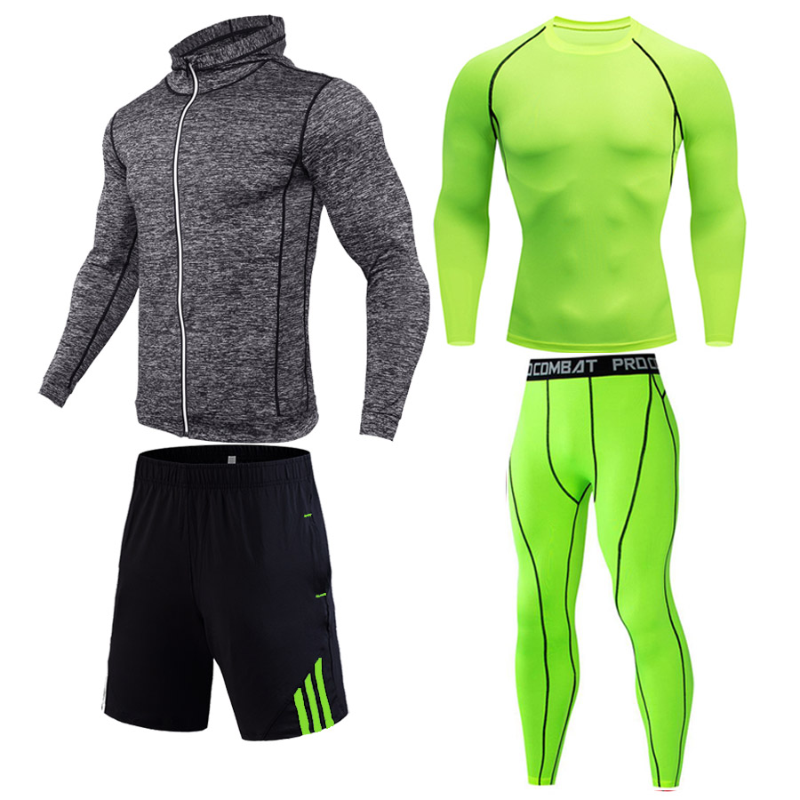 Men's Full Suit Tracksuit 1-4 Pieces Combination Sports Suit Autumn Winter Outdoor Running Kit Compression Gym Fitness Clothes