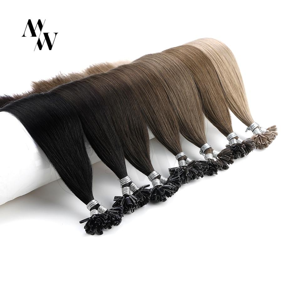 MW 28 дюймов Remy кератиновые U-образные накладные человеческие волосы для наращивания, 1,0 г на прядь, Натуральные Прямые Предварительно Связанн...