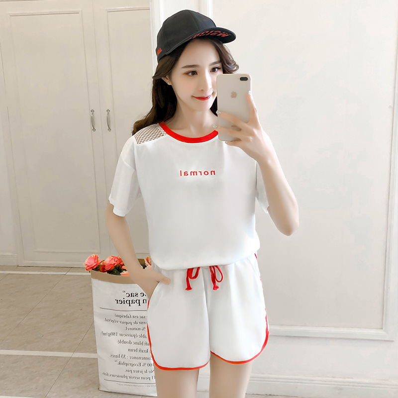 Korean-style 2019 New Style Casual WOMEN'S Suit Summer Loose-Fit Running Sports Short Sleeve Shorts Fashion Piece Supply Of Good