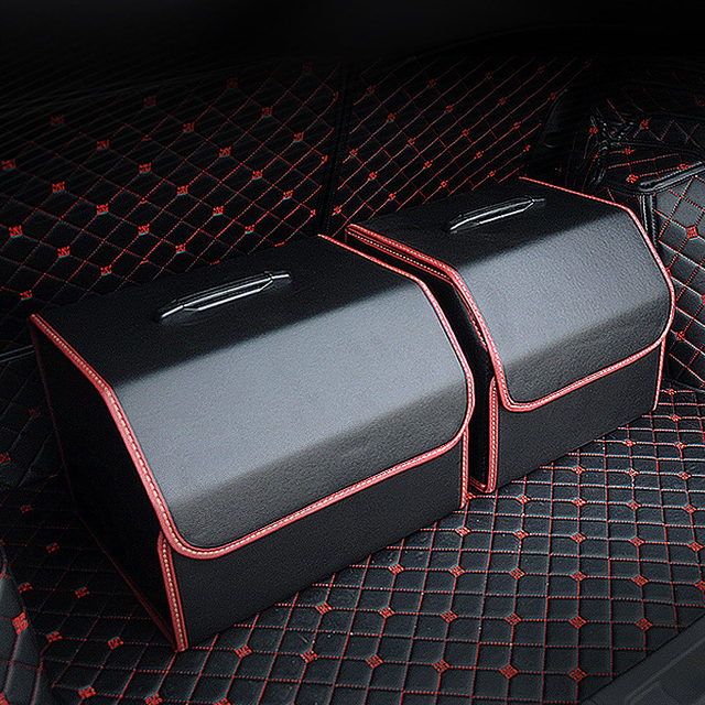 Car Storage Bag PU Leather Trunk Folding Car Storage Stowing Tidying Auto Trunk Box Organizer Car Accessories