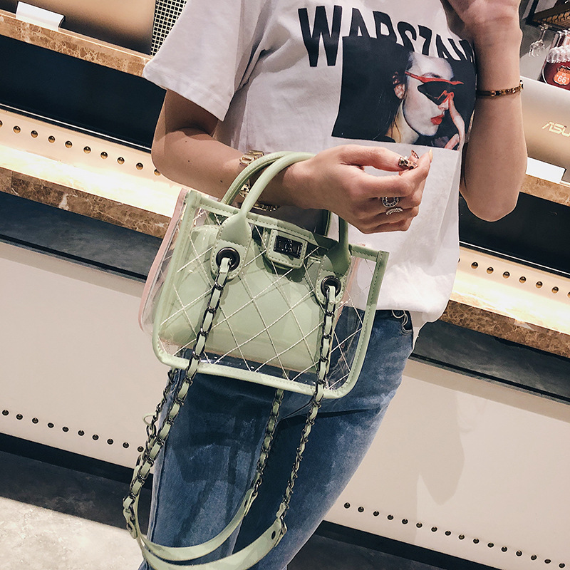 Bags For Women 2020 Summer PVC Transparent Handbag Casual Composite Shoulder Messenger Bag Girls Top-handle Square Flap Purses