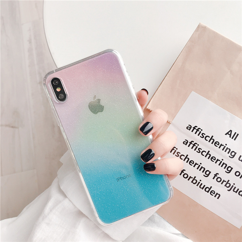 Ottwn Clear Gradient Colorful Phone Cases For iphone 8 7 6 6S X XR XS Max Fashion Soft Silicone Back Cover Shells