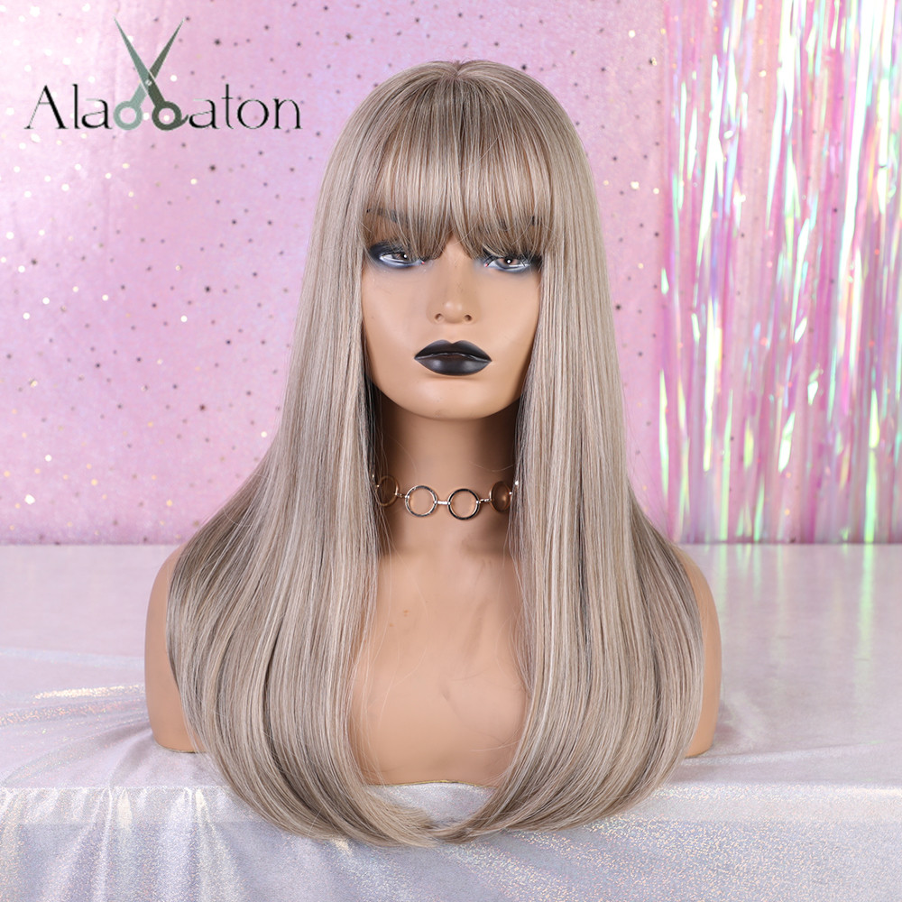 ALAN EATON Blonde Brown Gray High Temperature Fiber Natural Long Straight Synthetic Wig For Ladies Girls Women With Flat Bangs