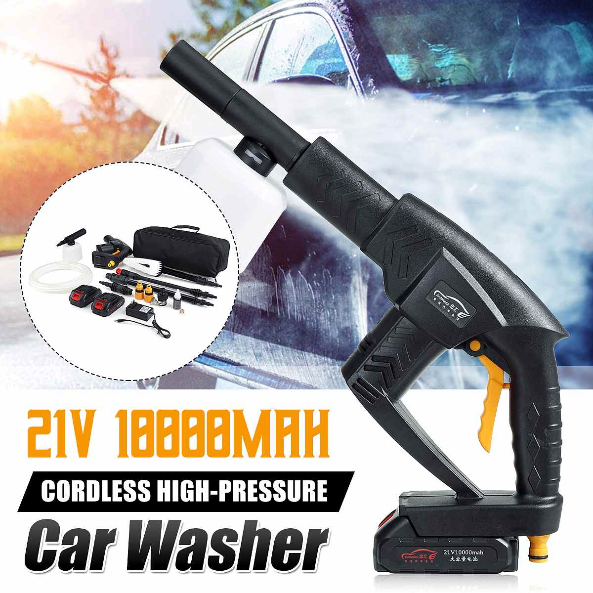 Car Washer 12V Portable Cordless High Pressure Cleaner Lithium Battery Car Washing Machine Auto Garden Home Cleaning Tools