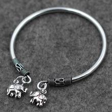 Hot Sale Vintage Double Elephant Charms Open Bangle Jewelry Antique 925 Thai Silver Bracelet Bohemian Boho Bracelet Women PKY313