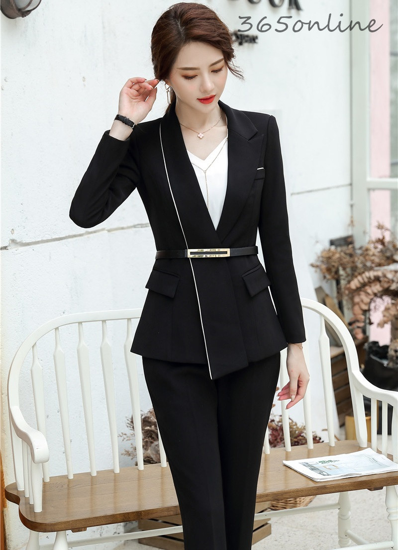 Autumn Winter Formal Uniform Designs Pantsuits With Pants And Jackets Coat Professional Ladies Office Business Work Wear Blazers